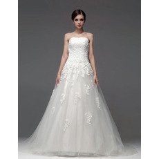 2019 Winter Elegant A-Line Strapless Chapel Train Wedding Dresses