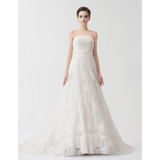 Vintage A-Line Strapless Court Train Lace Wedding Dresses