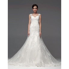 Designer A-Line Sweetheart Chapel Train Wedding Dresses with Straps