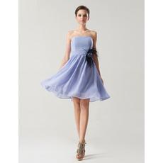 Affordable A-Line Strapless Knee Length Chiffon Bridesmaid Dresses