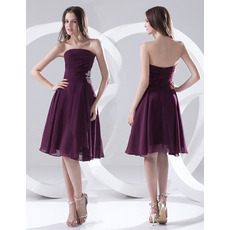 Custom A-Line Strapless Knee Length Chiffon Bridesmaid Dresses