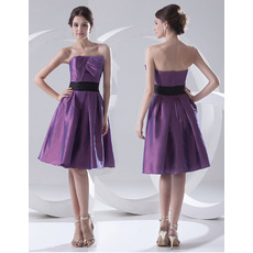 Custom Simple A-Line Strapless Knee Length Satin Bridesmaid Dresses