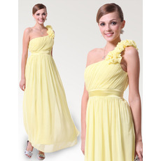Vintage Discount One Shoulder Ankle Length Chiffon Bridesmaid Dresses