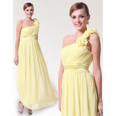 Vintage Discount One Shoulder Ankle Length Chiffon Bridesmaid Dresses