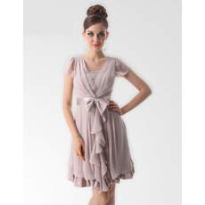 Elegant V-Neck Short Chiffon Bridesmaid Dresses for Summer Wedding