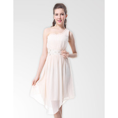 Inexpensive One Shoulder Short Chiffon Summer Bridesmaid Dresses