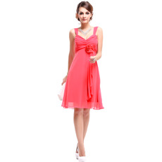 Inexpensive Empire Straps Short Chiffon Summer Bridesmaid Dresses