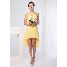 Sexy High-Low Short Chiffon Summer Beach Bridesmaid Dress with Strap