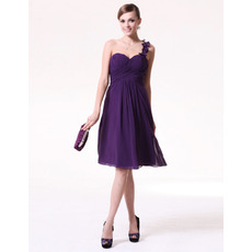 Inexpensive Summer A-Line One Shoulder Short Chiffon Bridesmaid Dresses