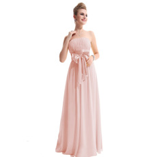 Inexpensive Elegant Strapless Floor Length Chiffon Bridesmaid Dresses