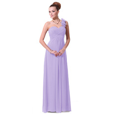 Vintage One Shoulder Floor Length Chiffon Bridesmaid Dresses for Spring