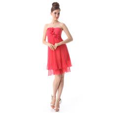 Inexpensive Sexy Empire Strapless Short Chiffon Bridesmaid Dresses