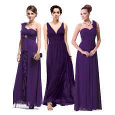 Affordable Sexy Custom Sheath Floor Length Chiffon Bridesmaid Dresses