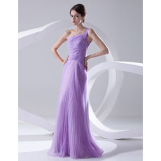 Custom A-Line One Shoulder Floor Length Satin Evening/ Prom Dresses