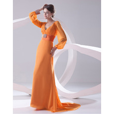 Discount V-Neck Long Sleeves Floor Length Chiffon Evening/ Prom Dresses