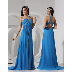 Sexy Sheath One Shoulder Sweep Train Chiffon Evening/ Prom Dresses
