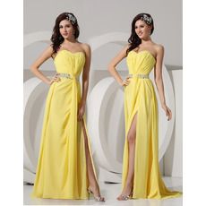 Spring Sheath Sweetheart Long Chiffon Evening/ Prom Dresses