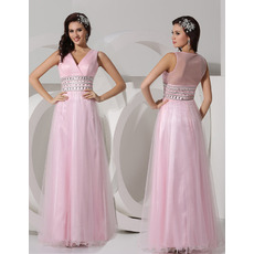 Elegant A-Line V-Neck Floor Length Organza Evening/ Prom Dresses