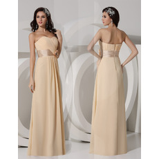 Spring Sheath Sweetheart Floor Length Chiffon Evening/ Prom Dresses