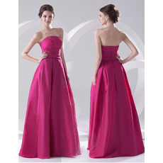 Affordable A-Line Strapless Floor Length Satin Evening/ Prom Dresses