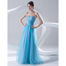 Elegant A-Line Sweetheart Floor Length Organza Evening/ Prom Dresses