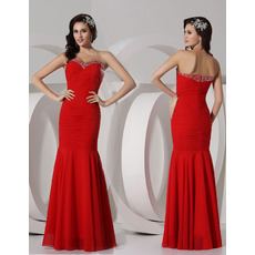 Custom Mermaid Sweetheart Floor Length Chiffon Evening/ Prom Dresses