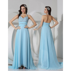 Sexy Sheath Halter Floor Length Chiffon Evening/ Prom Dresses
