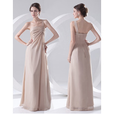 Custom Sheath One Shoulder Floor Length Chiffon Evening/ Prom Dresses