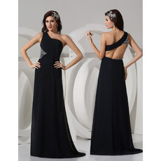 Sexy Sheath One Shoulder Floor Length Satin Evening/ Prom Dresses