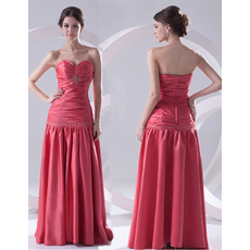 Spring Sheath Sweetheart Floor Length Satin Evening/ Prom Dresses