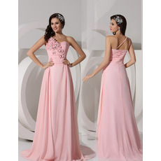 Elegant A-Line One Shoulder Sweep Train Chiffon Evening/ Prom Dresses
