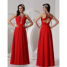 Sheath V-Neck Floor Length Chiffon Evening Dresses for Winter Prom