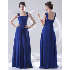 Custom Elegant Sheath Square Long Chiffon Evening/ Prom Dresses