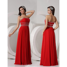 Sheath Strapless Floor Length Chiffon Evening Dresses for Winter Prom