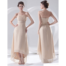 Custom Sheath Strapless Asymmetric Chiffon Evening/ Prom Dresses