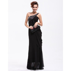 Affordable One Shoulder Chiffon Sheath Long Evening/ Prom Dresses