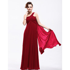 Sexy Empire One Shoulder Chiffon Floor Length Evening/ Prom Dresses