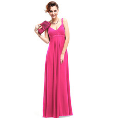 Empire Straps Floor Length Satin Evening Dresses for Summer Prom