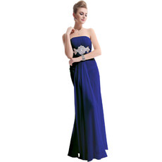 Custom Sheath Strapless Floor Length Chiffon Evening/ Prom Dresses