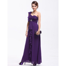 Discount Sexy One Shoulder Chiffon Ankle Length Evening/ Prom Dresses