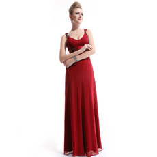 Custom Sexy Chiffon Sheath V-Neck Floor Length Evening/ Prom Dresses
