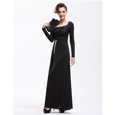 Custom Long Sleeves Sheath Long Black Satin Evening/ Prom Dresses