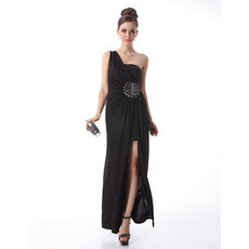 Inexpensive One Shoulder Sheath Chiffon Black Evening/ Prom Dresses