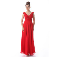 Discount Custom V-Neck Chiffon Ankle Length Evening Dresses for Prom