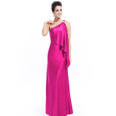 Sexy One Shoulder Sheath/ Column Satin Long Evening Dresses for Prom