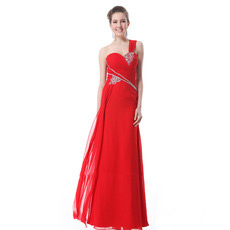 Custom One Shoulder Chiffon Sheath Floor Length Evening/ Prom Dresses