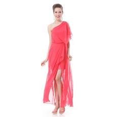 Custom One Shoulder Split Chiffon Ankle Length Evening/ Prom Dresses
