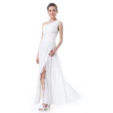 Inexpensive One Shoulder Split Chiffon Long Evening/ Prom Dresses