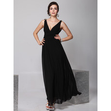 Sexy V-Neck Black Chiffon Ankle Length Sheath Evening/ Prom Dresses