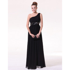 Sheath One Shoulder Chiffon Floor Length Evening/ Prom Dresses